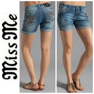 Miss Me Mid Midi Shorts Denim Jeans Fleur De Lis